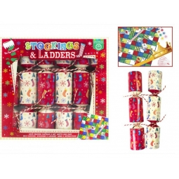 Pack Of 6 Stocking And Ladders Christmas Games Fun Crackers 6 Players