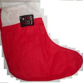 PMS 18 Inch Fabric Red Christmas Stocking Christmas Eve Hanging Decoration