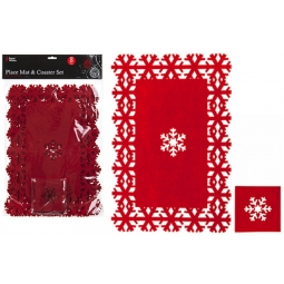 Red Snowflake Christmas Dinner Place Mat & Coaster Set 4 Of Each Felt Tableware
