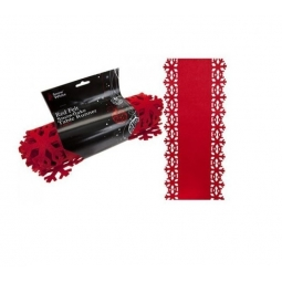 Red Felt Snowflake Christmas Table Runner Decoration 1.8M Festive Tableware