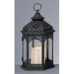 Premier 32cm Metal Decorative Lantern With Flickering Candle Yellow LED Battery