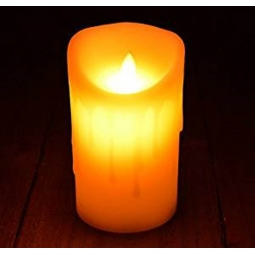 Ivory Colour Warm LED Dancing Flame Melted Edge Candle 18cm Realistic Look