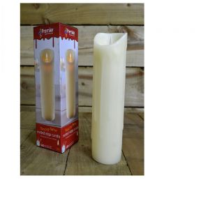 23cm Ivory Colour Warm LED Dancing Flame Melted Edge Candle Realistic Look