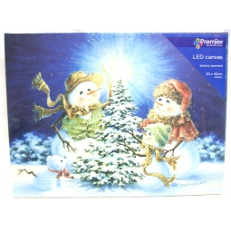 LED Christmas Canvas Scene Battery Operated Light Up Canvas Snowman Family