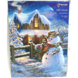 LED Christmas Canvas Scene Battery Operated Light Up Canvas Snowman With House