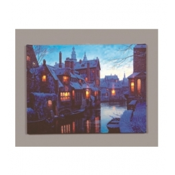 LED Christmas Canvas Battery Operated Light Up Canvas Canal In Town