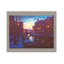 LED Christmas Canvas Battery Operated Light Up Canvas Canal With Street Lights