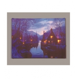 LED Christmas Canvas Battery Operated Light Up Canvas Canal With Mountains