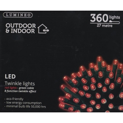 Lumineo Indoor & Outdoor LED Twinkle Christmas Lights 360 LED's 27M - Red Lights