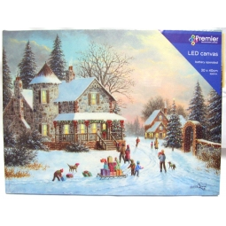 Premier LED Light Up Battery Operated Christmas Canvas Children Pulling Sleigh