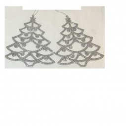 Christmas Tree Shaped Glitter Tree Trims Hanging Decorations 15cm - Silver