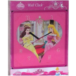 Disney Princess 2D Childrens Bedroom Playroom Battery Operated Wall Clock 24.5cm