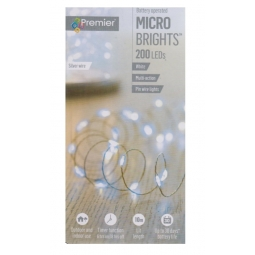 Premier 200 White LED Micro Brights Battery Wire Lights With Timer 10M In Out