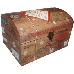 Large Brown Christmas Eve Chest Treasure Box Special Delivery 50cm x 35cm x 30cm