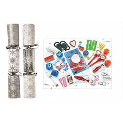 Box Of 50 x Christmas Party Catering Crackers 10 Inch White & Silver Large Snowflakes