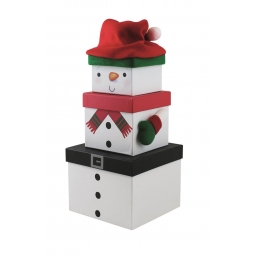 Set Of 3 Nested Stackable Christmas Eve Gift Boxes Square - Plush Snowman
