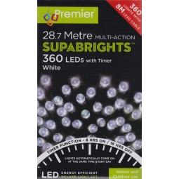 Premier Multi Action 360 Supabrights LED Christmas Lights 28.7M - Bright Wite