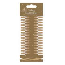 Set Of 30 Card Holder Pegs Christmas Card Holder Pegs With 3M String - Gold