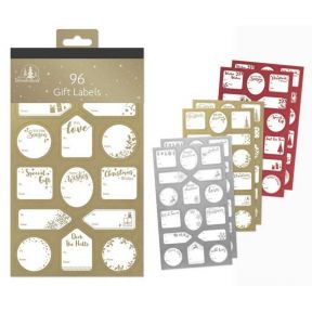 96 Gold Silver& Red Mixed Gift Labels