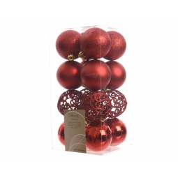 16 Mixed Glitter Red Baubles