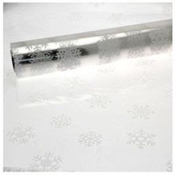 10M x 80cm Length Christmas Clear Cellophane Gift Wrap With White Snowflakes