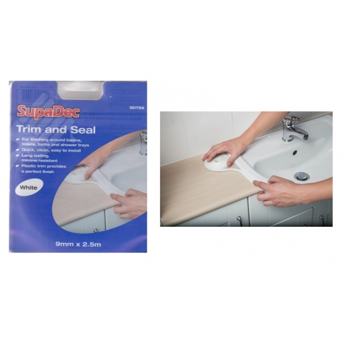 SupaDec Trim And Seal Strip White Sealant Kitchen Bathroom Shower Plastic Trim