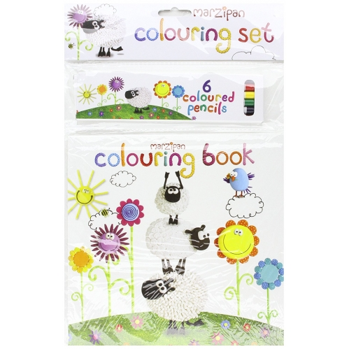 Marzipan Kids Fun Colouring Book & Coloured Pencils Colouring Set Party Bag Fill