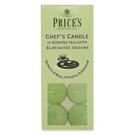 Prices Chef's Candle - 10 Scented Tealights - Basil, Patchouli & Geranium