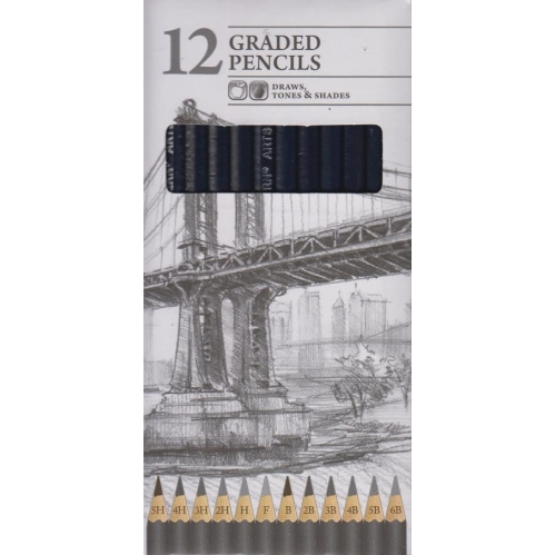 Pack Of 12 Graded Artist Sketching Pencils Tones & Shades 5H To 6B Assorted