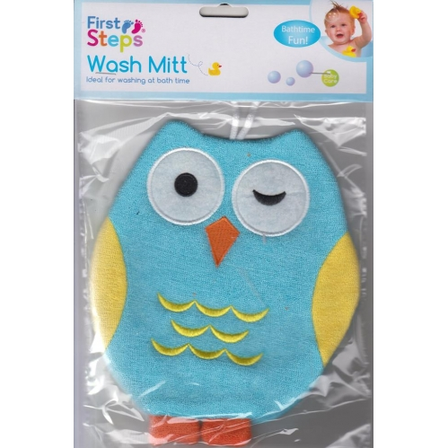 First Steps Cute Owl Adult Use Baby Wash Mitt Sponge Glove Bath Time Blue