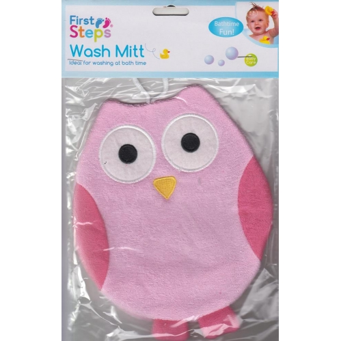 First Steps Cute Owl Adult Use Baby Wash Mitt Sponge Glove Bath Time Pink