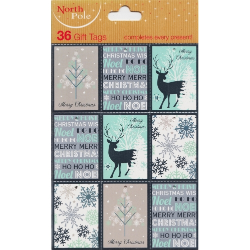 36 North Pole Christmas Gift Tags Silver & Blue