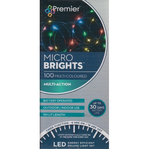 5M Premier Micro Wire Christmas Lights & Timer 100 LED Battery - Multi Coloured