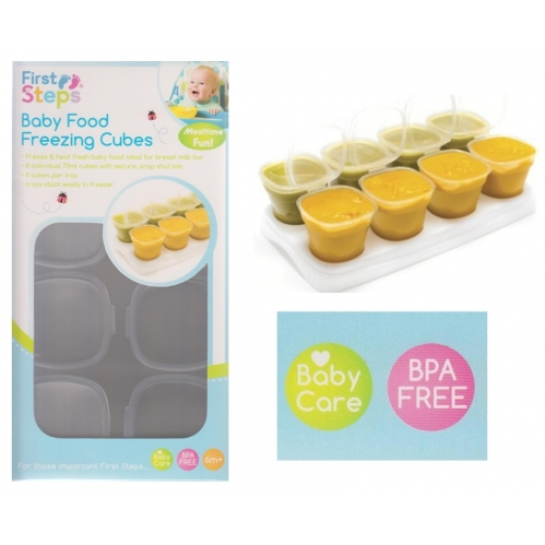 8 Plastic Baby Food Container Weaning Freezing Storage Cubes BPA Free Tray 70ML