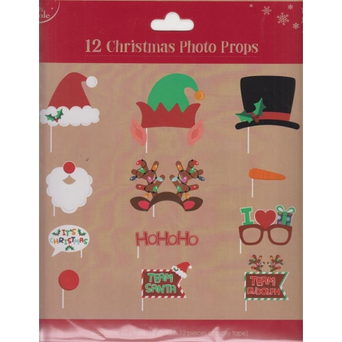 North Pole Pack Of 12 Novelty Christmas Fun Party Photo Face Props Santa Elf