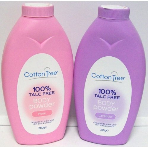 2x Cotton Tree Body Powder 100% Talc Free For Soft Skin Rose & Lavender 280g