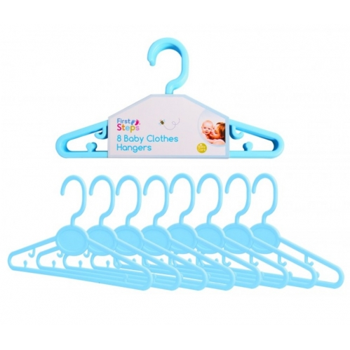 8 Blue Baby Toddler Coat Clothes Hangers Plastic Small Ideal For Kids Clothing