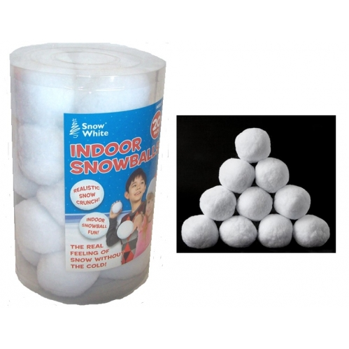 Pack Of 20 Indoor Play Soft Christmas Snowballs With Real Crunch Feel Fun 7cm