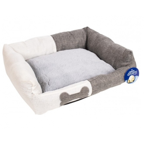 Medium Two Tone Luxury Pet Dog Bed Natural Grey Hessian Effect 58cm x 48 x 20cm