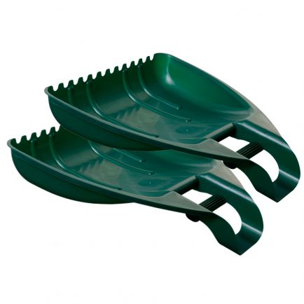 Set Of 2 Forest Green Large Handy Plastic Garden Leaf Debris Grabbers Scoops