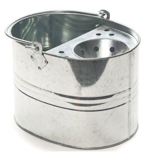 9L Strong Steel Galvanised Mop Bucket With Perforated Drainer Floor Cleaning