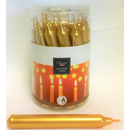 Tub Of 22 Mini 10cm Christmas Dinner Taper Candles 1.4H Burn Time - Gold