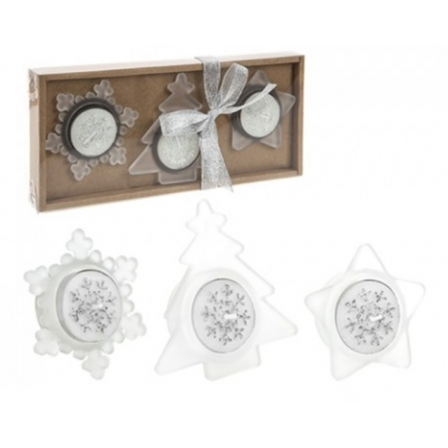 Christmas Tealight Candle & Holder Set Tree Star & Snowflake Shape - Silver