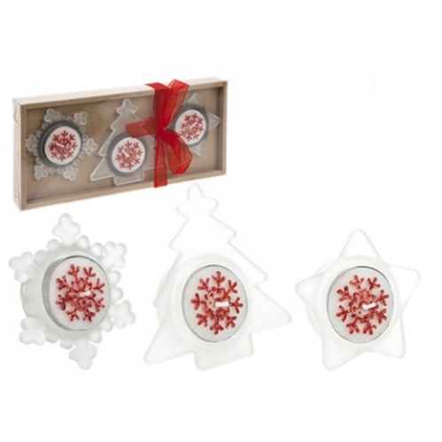 Christmas Tealight Candle & Holder Set Tree Star & Snowflake Shape - Red