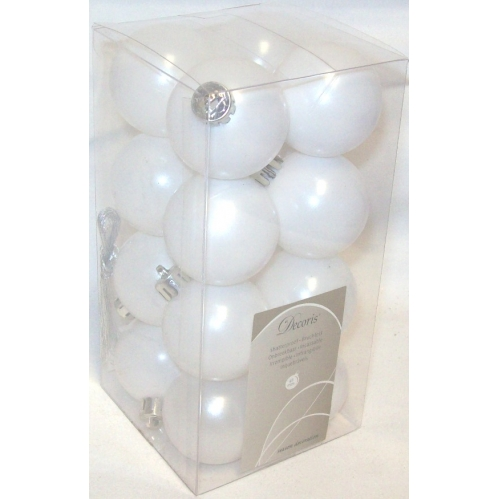 Decoris 16 Mini Luxury Shatterproof Christmas Baubles 4cm Winter White - 021789