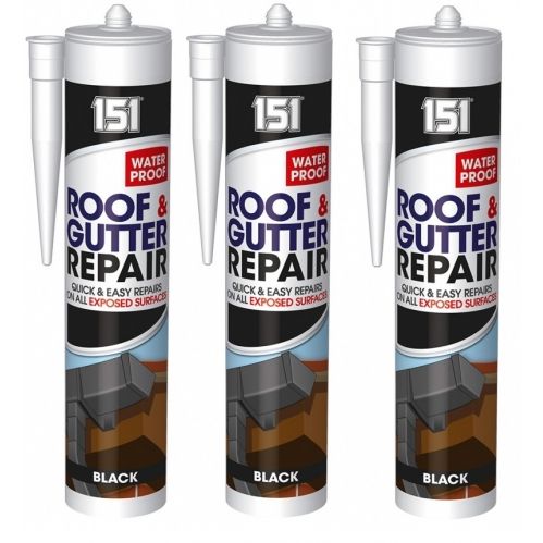 3 Black Roof & Gutter Leak Repair Sealant Waterproof For Exposed Surfaces 450g