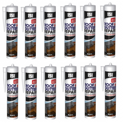 12 Black Roof & Gutter Laak Repair Sealant Waterproof For Exposed Surfaces 450g