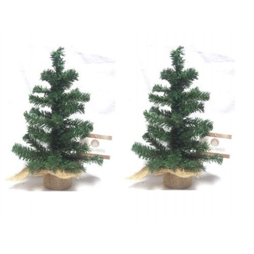 2 x Mini Table Top Centerpiece Artificial Christmas Tree With Hessian Base 45CM
