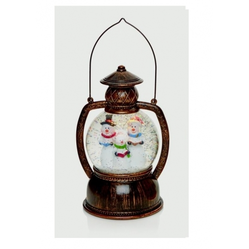 Premier LED Hurricane Lantern Snowman Family Scene Water Spinner Warm White