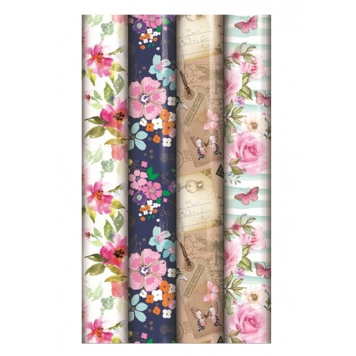 4 Rolls Of 3M x 70CM Ladies Floral Mixed Birthday Wedding Gift Wrapping Paper